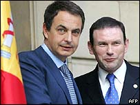 Spanish Prime Minister Jose Luis Rodriguez Zapatero (left) welcomes Basque regional president Juan Jose Ibarretxe