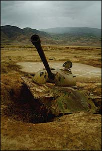 A derelict and abandoned Soviet tank