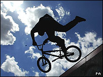 BMX stunt rider performs at Activ8 in Hyde Park