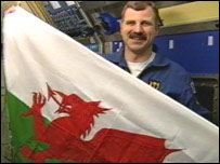 Dafydd Williams with Welsh flag