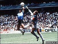 Diego Maradona en el Mundial de F�tbol de 1986.
