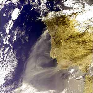 Envisat image of smoke from Portuguese wildfires (pic: ESA)