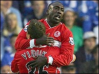 Jimmy Floyd Hasselbaink and Mark Viduka celebrate Boro's opening goal
