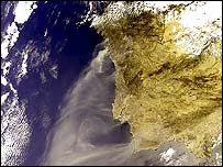 Satellite image showing smoke from Portugal's fires (Pic: ESA)