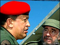 President Hugo Chavez and his Cuban host Fidel Castro