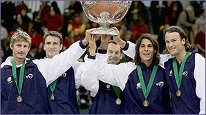 Spain beat USA in 2004 to win the Davis Cup final