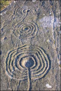 Rock art at Weetwood Moor, Northumberland (credit, Aron Mazel)