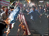 Iranians burn a US flag at demonstration in front of the British embassy in Tehran
