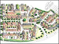 Building plans of the new village