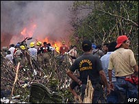 The aftermath of a plane crash in Peru's jungle