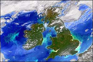 Foto satelital del Reino Unido e Irlanda