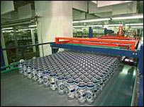 Cans of beer on the production line