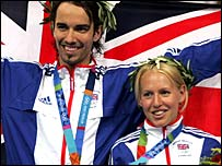 Gail Emms and Nathan Robertson celebrate their Olympic silver medal in 2004