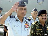 Indian Air Force chief SP Tyagi (L) arrives in Port Blair