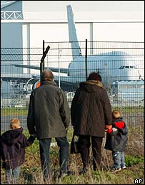 The first prototype of the Airbus A380 observed by plane spotters