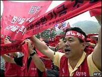 Hyundai workers demonstrating last year