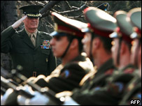 US Gen Jones (l), Nato's supreme allied commander for Europe watches the Bulgarian army honour guards