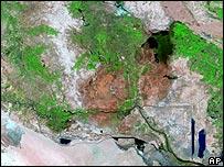 Imagen satelital de los pantanos