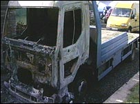 Burned lorry