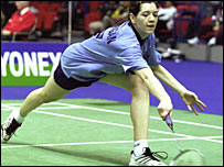 Kelly at the All England Championships in 2001
