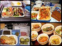 Clockwise: Thai Air, Air Kazakhstan, Asian Spirit and Azerbaijan Airlines. Pictures: Airline Meals.net