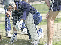 Justin Langer is hit in the nets by team-mate Shaun Tait