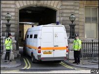 Police van outside court