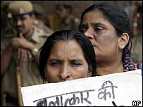 Women protest against rise in domestic violence in New Delhi, 12 August 2005
