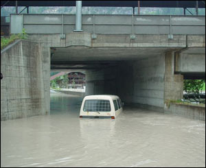Kandersteg, Switzerland, after the river Kander burst its banks