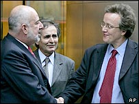 Mr Pereira (left), Brazil's Deputy Attorney General Dr Wagner Goncalves (centre) and the IPCC's Nick Hardwick (right)