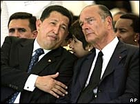 French President Jacques Chirac, right, and  Venezuelan President Hugo Chavez attend a memorial service in Martinique