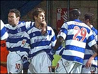 QPR players celebrate Lee Cook's first-half goal
