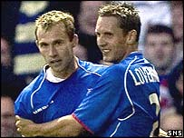 Thomas Buffel (left) opened the scoring for Rangers