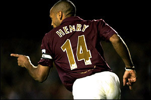 Thierry Henry scores a second-half brace