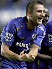 Frank Lampard celebrates scoring for Chelsea