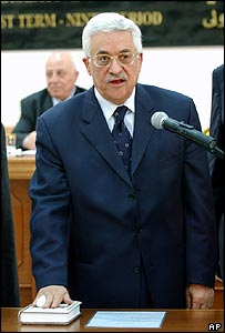 Mahmoud Abbas at his inauguration ceremony