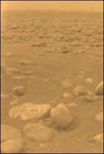 The first colour view of Titan's surface from Esa's Huygens probe (Esa)