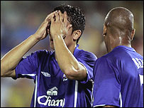 Everton's Tim Cahill holds his head in his hands as Marcus Bent looks on as the side go out of the Champions League