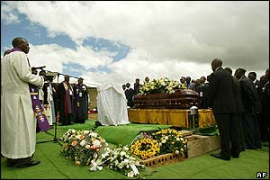 Clergy at the funeral of Nelson Mandela's son, Makgatho