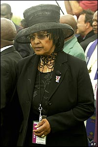 Winnie Madikizela-Mandela, at the funeral of Nelson Mandela's son, Makgatho