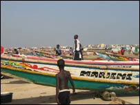 Fishing canoes in Yoff, Senegal
