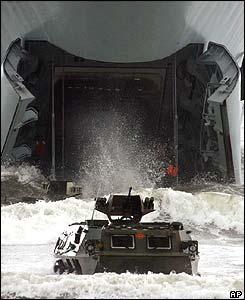 Chinese amphibious landing craft leaves a landing ship