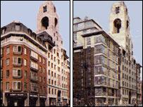 Foto de archivo de la antigua sede de Abbey National (izq) y un dibujo de cómo lucirá el futuro complejo edilicio, ambos con la torre del reloj.