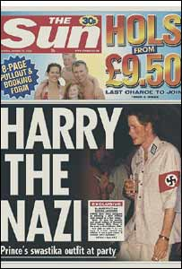 Prince Harry is pictured in the Sun newspaper