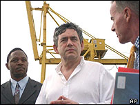Gordon Brown in Mozambique