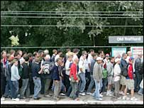 Long queues form for the cricket at Old Trafford