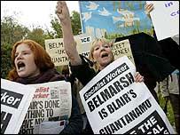 Protesters outside Belmarsh jail in October last year