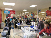Checkout tills at Tesco supermarket
