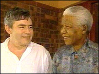 Gordon Brown with Nelson Mandela