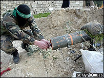 Hamas militant prepares a rocket in Gaza City